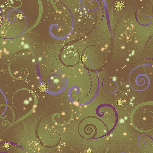 8500M-49 Swirling Sky Olive Exquisite printing, beautiful colours and design, lovely theme - Dance of the Dragonfly has all the makings of a fabric classic. The printing is truly extraordinary with very fine gold accents - so difficult to achieve! Dragonflies flit among the waterlilies, or fly in a night sky filled with stars. in two luscious coloorways: blue/green and gold/purple. Truly beautiful. 100 % cotton, Juberry Fabrics supply in long quarters of a metre but for lon...