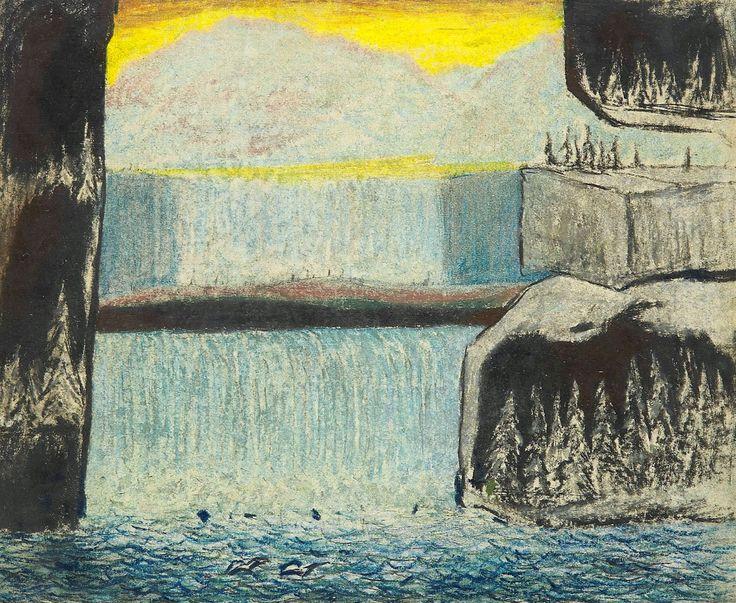 Carl Fredrik Hill (Swedish, 1849-1911), I grottor räddas granarna undan syndafloden, n/d. Chalk on paper, 17.50 x 21.50 cm