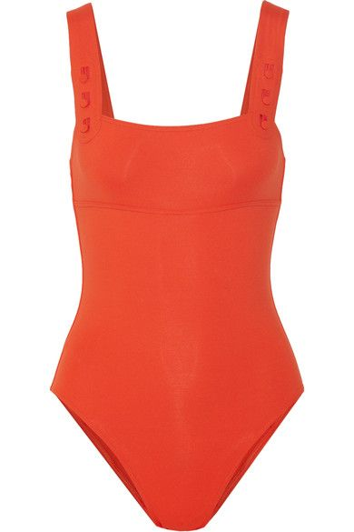 Tomato-red stretch-polyamide Pulls on 77% polyamide, 23% elastane Hand wash Designer color: Vitamin Lotion, sunscreen, oil and chlorine can cause discoloration of this item; this is not a manufacturing defect. Please follow care instructions to keep your swimwear in the best condition Made in France