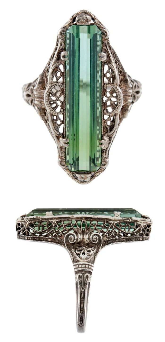 Diamonds in the Library's top posts of the year - An antique green tourmaline filigree ring from the Victorian era, circa 1880.