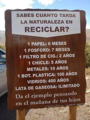 Cuanto tarda la naturaleza en reciclar lo que tiras?