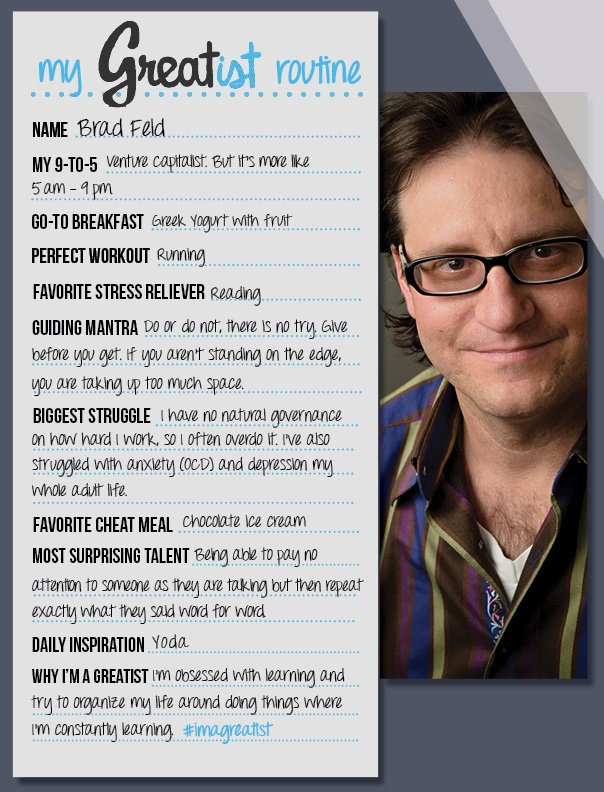 Healthier Choices: Brad Feld's Daily Routine