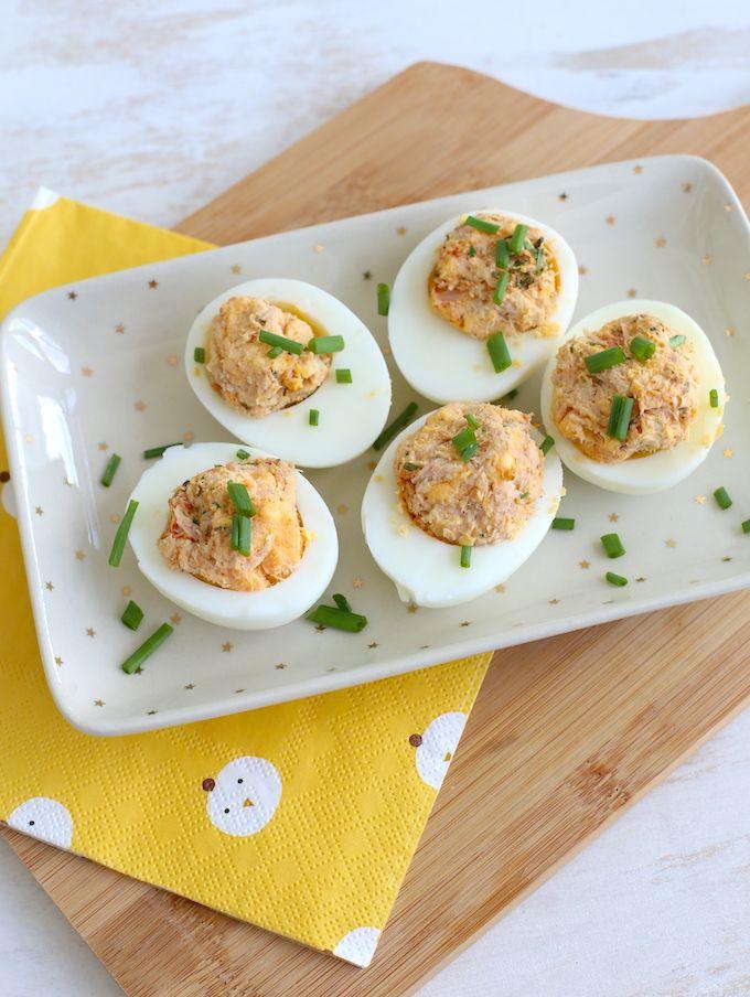 Gevulde eieren met tonijn