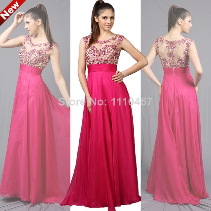 2014 Laberry A-Line Scoop Beading Flowers Sleeveless Tulle Chiffon Long Bridesmaid Dresses $550.53