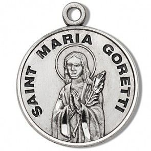 "Saint Maria Goretti 7/8"" Round Sterling Silver Medal"