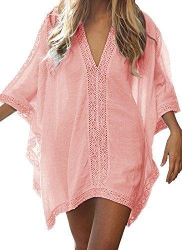 Walant Damen Strandkleid Einheit Größe Kleidung Strand Hemdkleid V-Ausschnitt Rock (Einheit, Orange rosa)