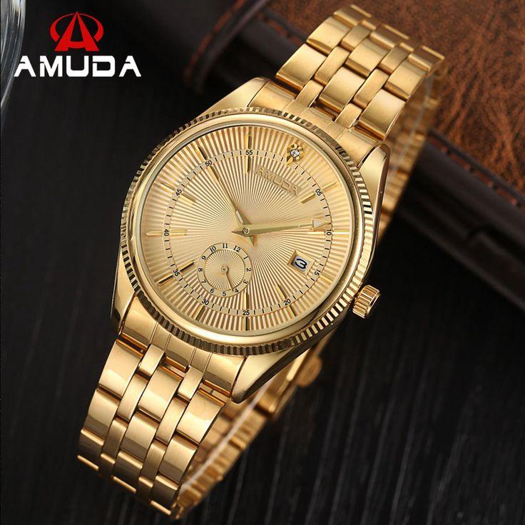 New  Fashion Brand Luxury AMUDA Watches Men Golden Watch Business Casual Quartz Wristwatch Waterproof Male Relogio Masculino-in Quartz Watches from Watches on Aliexpress.com | Alibaba Group