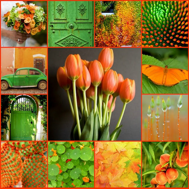 Oh how I love her combinations!  Aren't they just beautiful?  Lime Green and Tangerine!