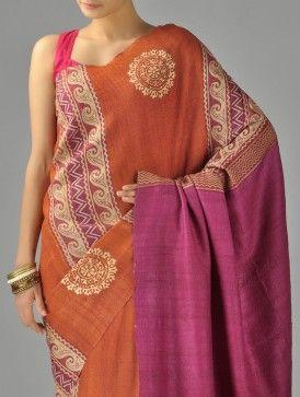Orange & Magenta Organic Silk Saree