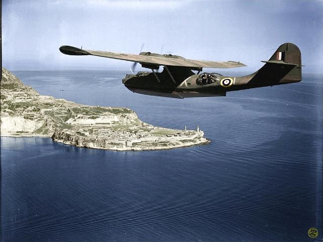 PBY Catalina in RAF markings at Gibraltar. (enlarge image