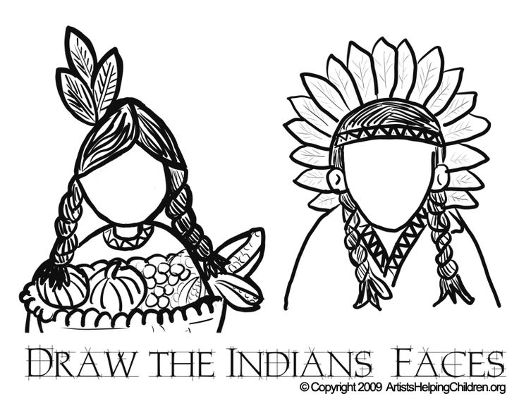 thanksgiving indians coloring pages printouts draw indians faces in drawing activities worksheets for kids
