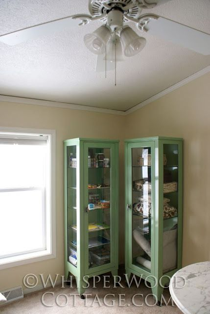 Start of the Office/Studio Makeover: Pair of Vintage Medical Cabinets