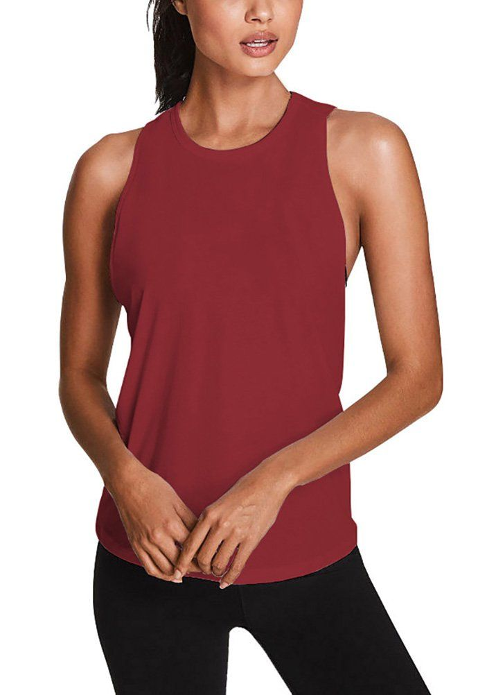 a6135b07337724 Mippo Womens Fashion Backless Workout Tank Top Sleeveless Yoga Tops Flowy  Athletic Activewear Open Back Muscle Tank Fitness Shirts for Junior Wine  Red M ...