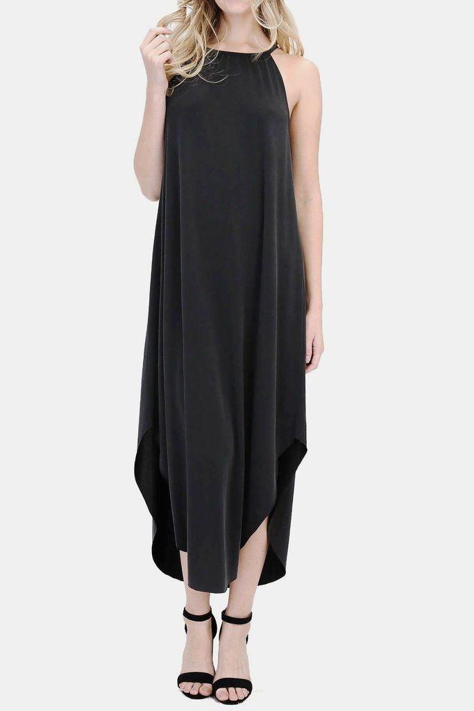 eaad5b84a0d3 Cleo Modal Cupro Midi Dress in Black | Sustainable/Natural Fibers | Halter  neck maxi dress, Dresses, Black maxi