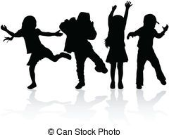 Children Playing Silhouette Clip Art