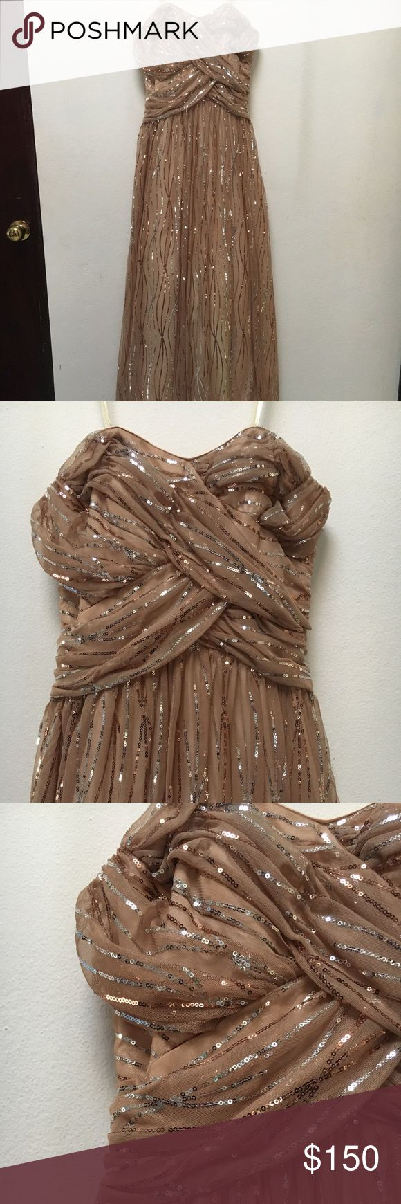 Strapless Nude sequined gown Beautiful gown only used once. Has Copper and silver sequins. Zips up at back. Suited for a woman that wears 4-6 sized dresses. Dresses Prom