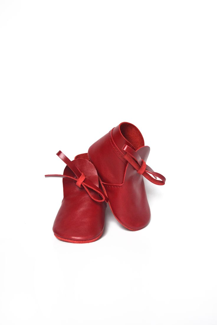 Beautiful red leather baby booties by MiniMo baby shoes. They can be lovely as first baby Christmas shoes or for any other occasion!