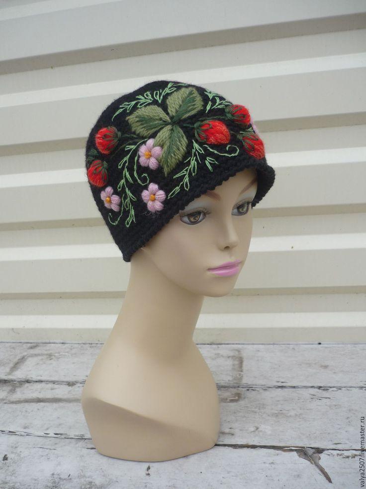 Купить шапка с вышивкой - черный, цветочный, шапка, шапка вязаная, шапочка, шапка женская