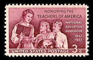 The Post Office Department issued this 3-cent stamp to honor the Teachers of America, through the Philadelphia Pennsylvania, post office on July 1, 1957.