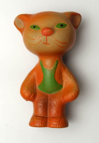 1950s Soviet Russia RUSSIAN  VINTAGE Rubber Toy CAT ,  Made in USSR.