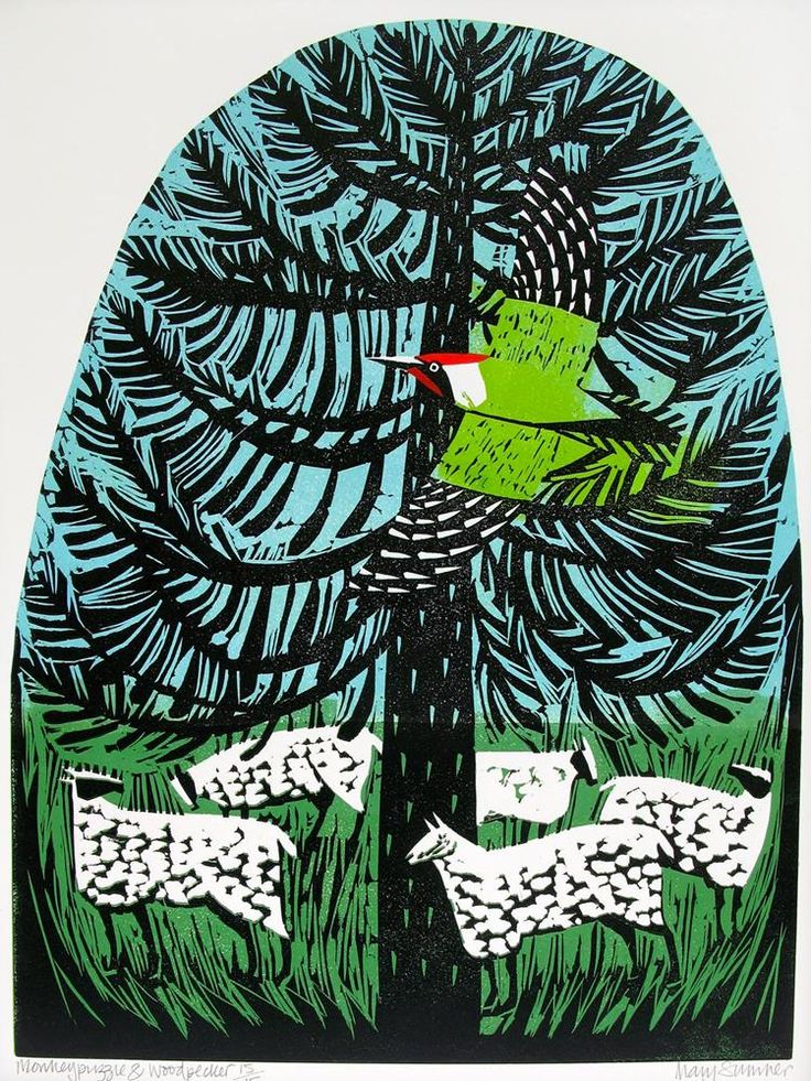 Mary Sumner : Monkey Puzzle & Woodpecker. Linocut