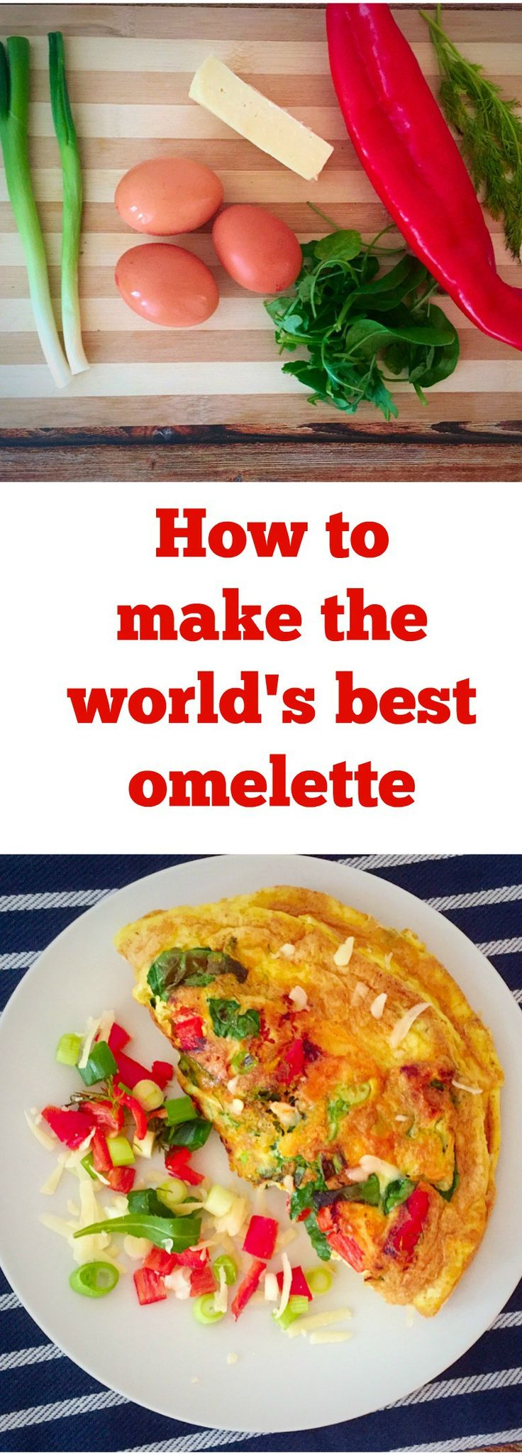 World's best omelette, an easy recipe for a healthy breakfast. Just a few ingredients, eggs, spring onions, red pepper, cheese and breakfast is ready.Healthy recipes are never boring.