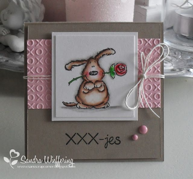 A Penny Black stamp, an embossing folder, string or twine, and a couple of gems or pearls and you have an endearing card to send to a friend for Valentine's Day or anytime