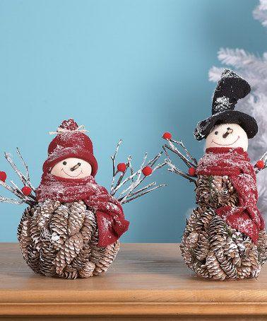 kendra Look at this #zulilyfind! Rustic Snowmen Pinecone Figurine Set #zulilyfinds
