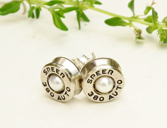 Pearl Bullet Stud Earrings  Sterling Silver  by LamplighterJewelry, $28.00 #EtsyAAA #Etsy
