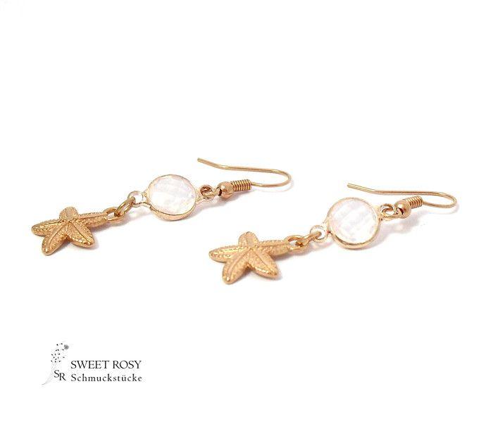 Ohrringe - Ohrringe Seestern Anhänger rosegold Sommer weiß - ein Designerstück von sweetrosy bei DaWanda