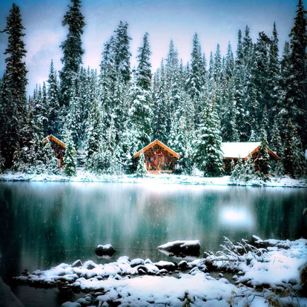 Lake O'Hara Lodge in Canada... though you can only stay in the main lodge in winter, and not these awesome cabins.