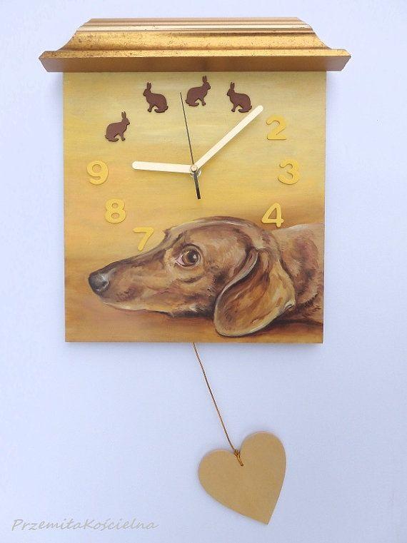 Dachshound PAINTED CLOCK DOG portrait Hand by CanisArtStudio, #clok, #clockdog