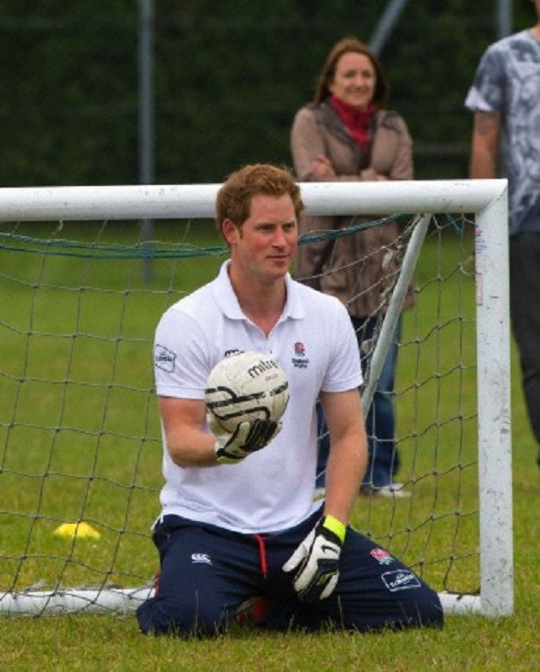 Prince Harry takes part in training activities when visiting Inspire, Ipswich, England.