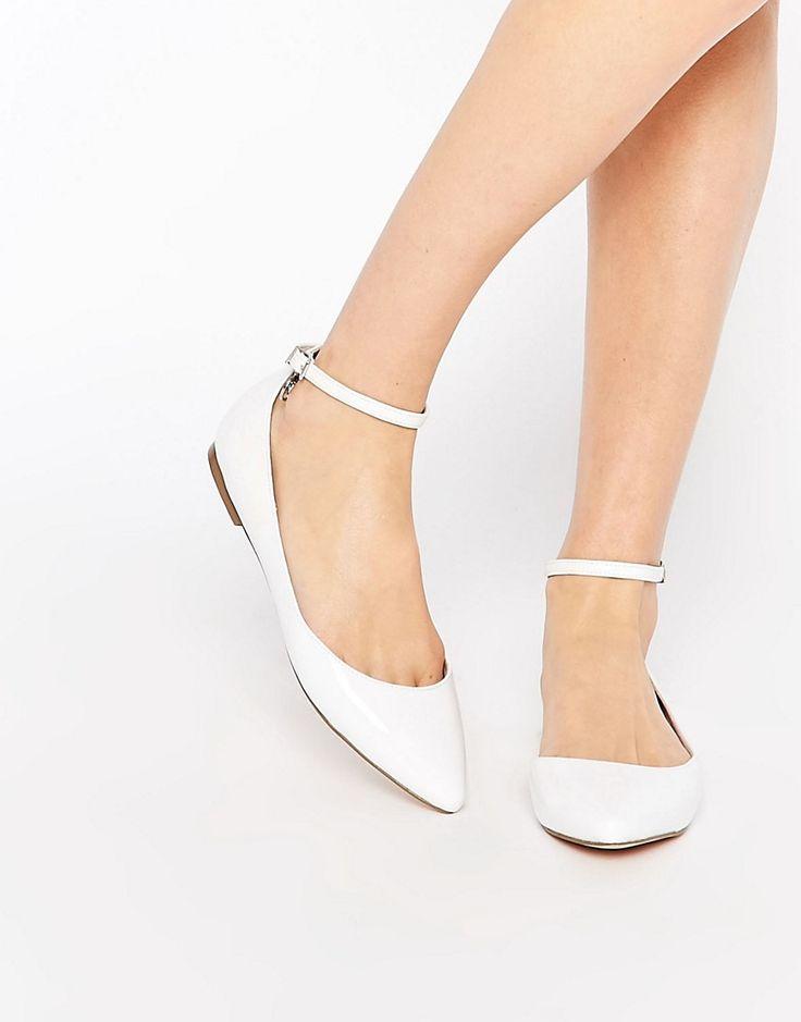 Image 1 ofFaith Al White Asymmetric Pointed Flat Shoes