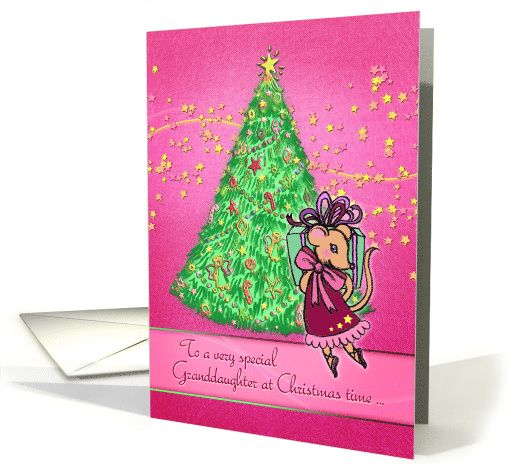To a Special Granddaughter at Christmas time, cute mouse, tree, stars pink card