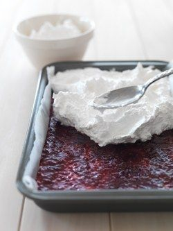 Louise Cake     125g butter, softened  1/3 cup sugar  3 egg yolks, room temperature  1 teaspoon vanilla essence  1½ cups flour  1 teaspoon baking powder  ½ cup raspberry jam    Topping  3 egg whites, room temperature  ¾ cup sugar  ¾ cup each: desiccated coconut, shredded coconut    Preheat the oven to 180°C. Line an 18cm x 28cm pan with baking paper.  Cream the butter and sugar with an electric beater until the mixture is light and fluffy.   Beat in the egg yolks and vanilla essence. Sift…