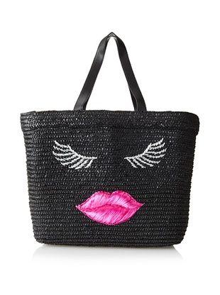 59% OFF Felix Rey Women's Kissy Face Basket Tote, Black/Pink