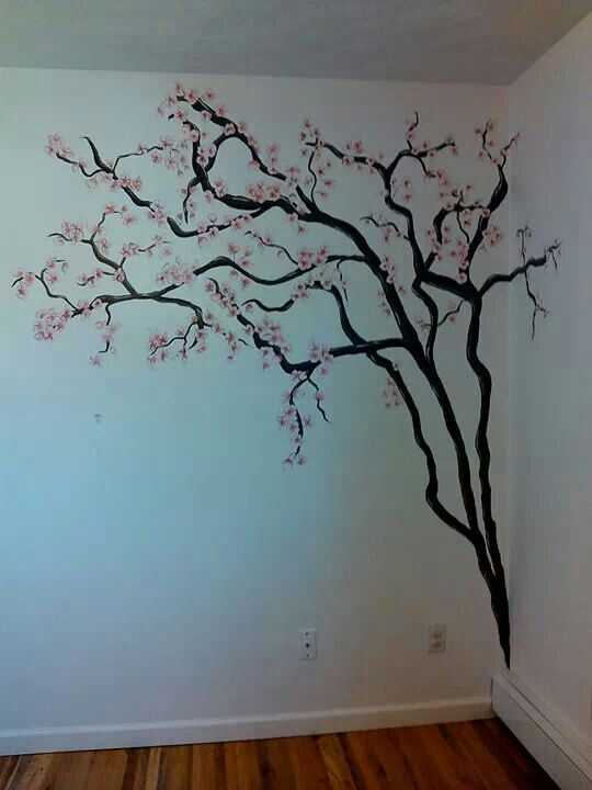 17 best images about wall painting on pinterest cherry for Cherry blossom wall mural stencil