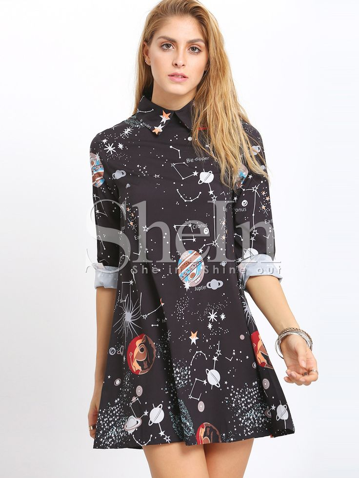 Shop Black Planet Print Shift Dress online. SheIn offers Black Planet Print Shift Dress & more to fit your fashionable needs.