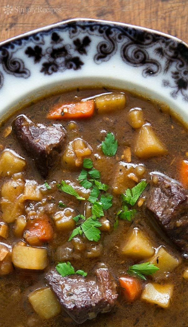 Irish Beef Stew | SimplyRecipes.com | Beef stew made with beef, garlic, stock, Irish Guinness stout, red wine, potatoes, carrots, and onions. A hearty stew perfect for celebrating St. Patrick's Day!