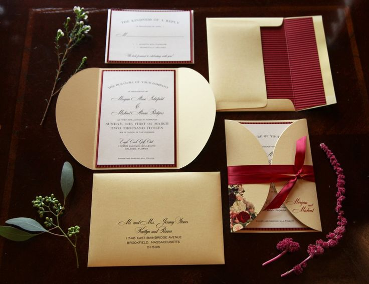 Great Gold And Marsala Wedding Invitation Suite By Dogwood Blossom Stationery.  Photo By Tab McCausland.