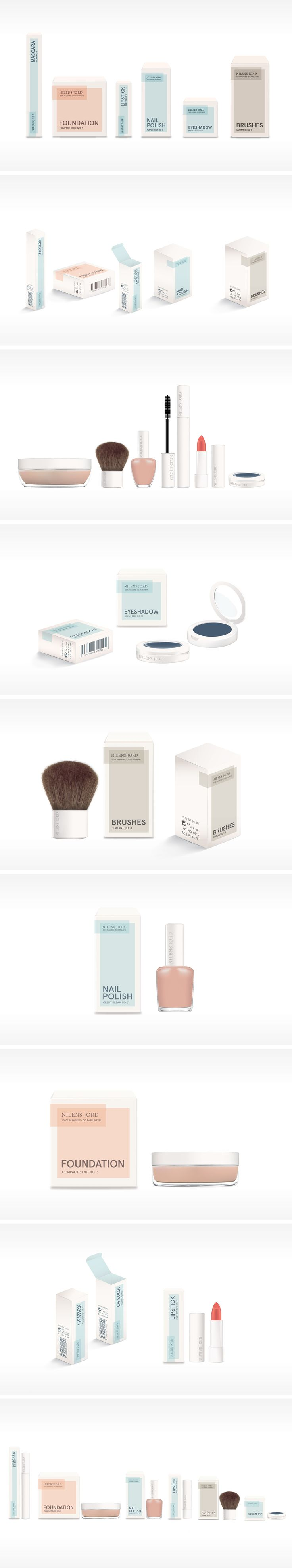 Product and packaging redesign for the makeup brand Nilens Jord. Work by Camilla Heegaard Severinsen, Malene Habroe & Anne Sofie Nordlund Hansen