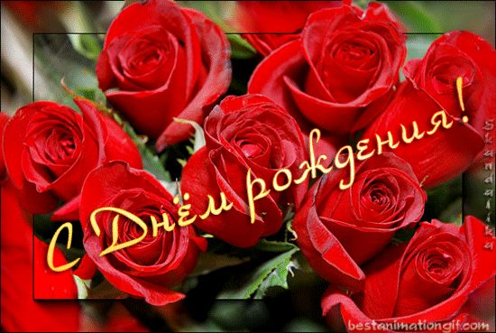 С днем рождения!(букет красных роз) - анимационные картинки и gif открытки