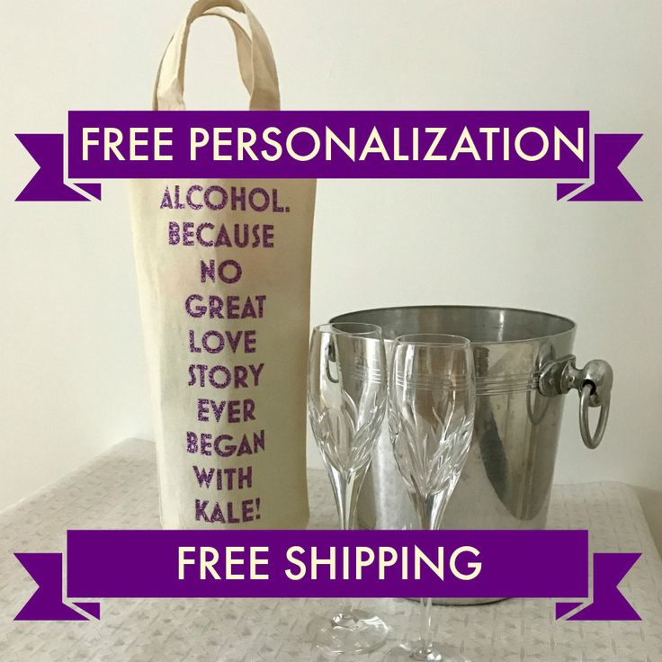 Personalized bottle bag, SHIPS FAST and FREE, Custom made to order by weheartcards on Etsy