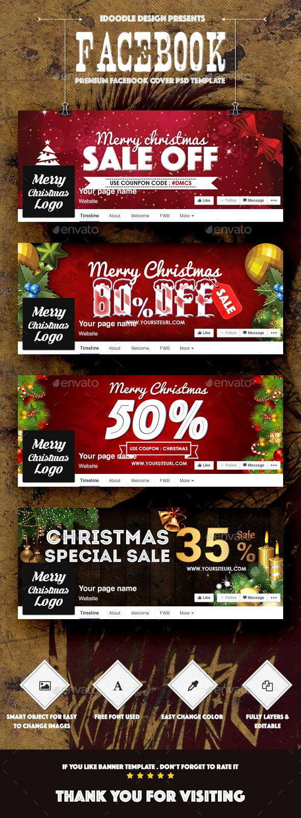 Christmas Facebook Covers Template PSD #design Download: http://graphicriver.net/item/christmas-facebook-covers/14111959?ref=ksioks
