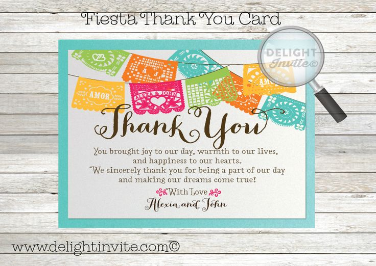 Mexican Fiesta Paper Flag Wedding Thank You Cards
