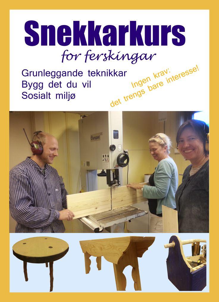 Lyst å lage noko sjølv i tre? På snekkarkurs for ferskingar lærar du grunnprinsipp i trearbeid i eit hyggeleg miljø. Lærar Ola Svensson er ein dyktig kunstnar og formidlar.