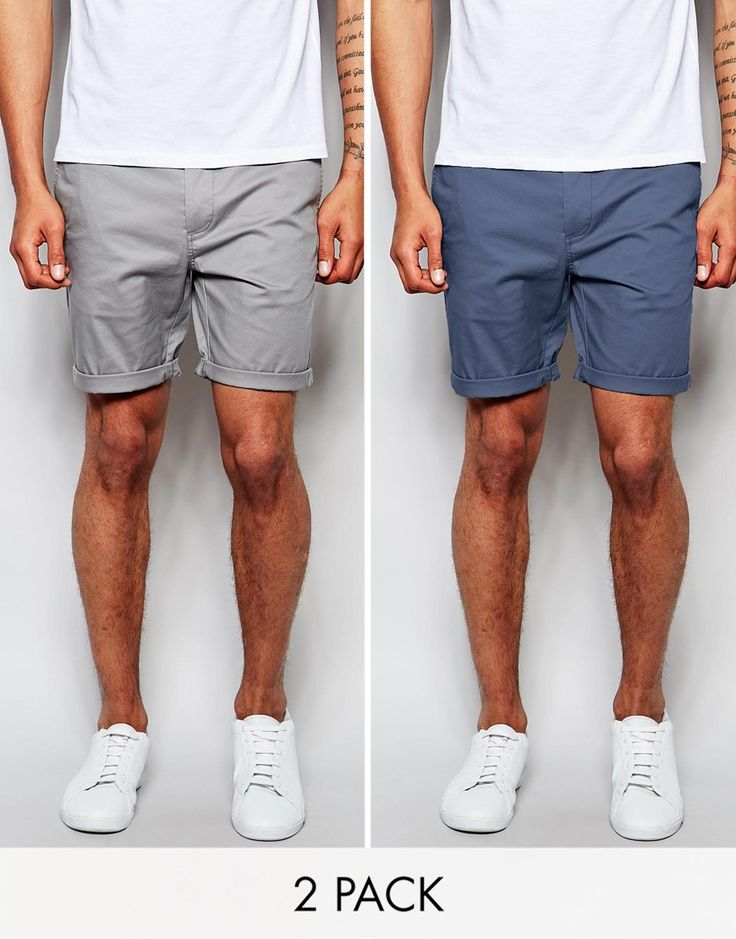 Image 1 of ASOS 2 Pack Slim Chino Shorts In Mid Length SAVE 17%