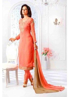 orange, faux couleur costume georgette jacauard de churidar, - 91,00 €, #Robebollywood #Salwarkameezpascher #Robeindienne #Shopkund