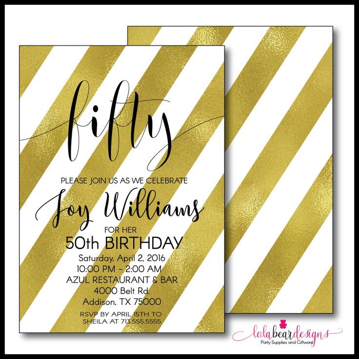 50th Birthday Invitation; Gold and White 50th Birthday Invite; 50th Birthday Invite by LolaBearDesign on Etsy